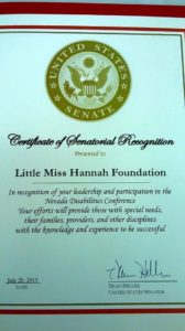 Thank you U.S. Senator Dean Heller for recognizing our dedication for Nevada's rare and medically complex children.