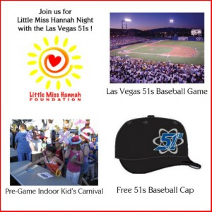 Join us for Little Miss Hannah Night at the Las Vegas 51s Baseball Game