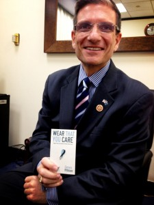 """Congressmen Joe Heck showing his support for childhood rare disease by holding our """"Genes"""" Ribbon!"""